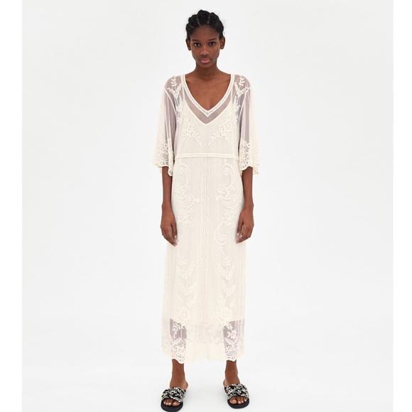 1c32ee422907 NWT Zara Long Lace Dress